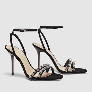 Black jeweled heeled sandal